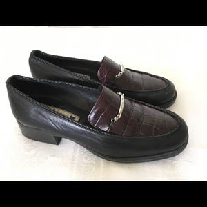 Brighten Sz 6 Brown/Black Croc Leather Loafers